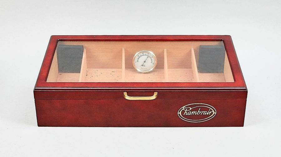 Rambrair humidor, 2nd half of the 20th century, wooden box with glazed, bevelled…