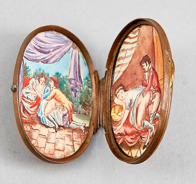Small tin for beauty patches with partly erotic miniatures, enamel painting on p…