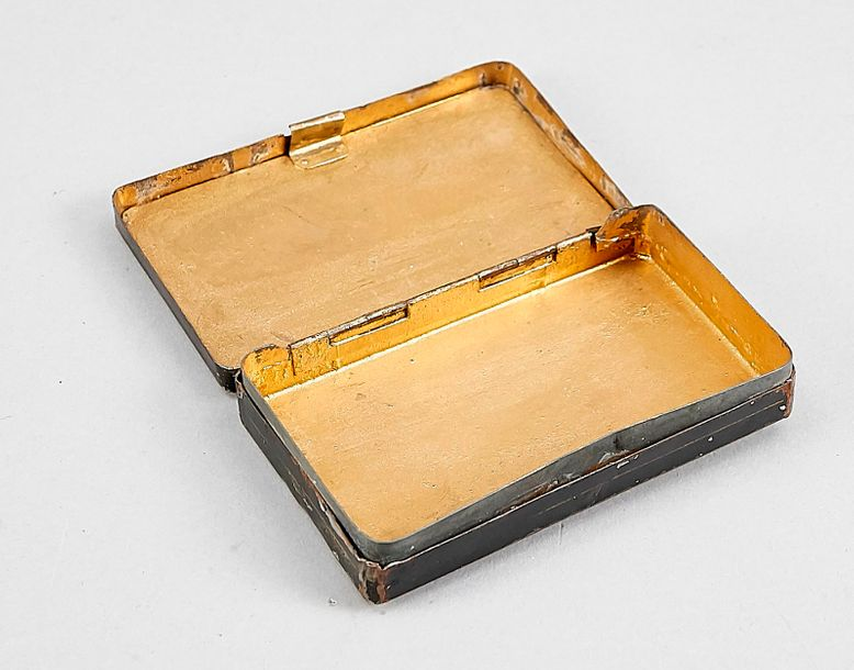 Biedermeier tobacco box with costumed lady and erotic scene in the double lid, V…