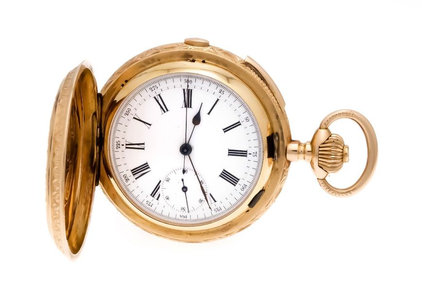 Spring cover men's pocket watch yellow gold / red gold / 750, 1/4 hour repetitio…