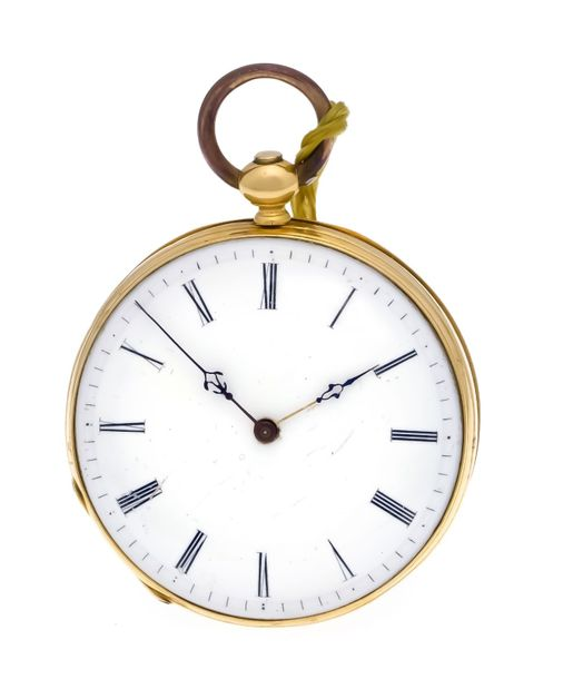 Open key pocket watch yellow gold 750/000, 1 gold lid, guilloche back with free …