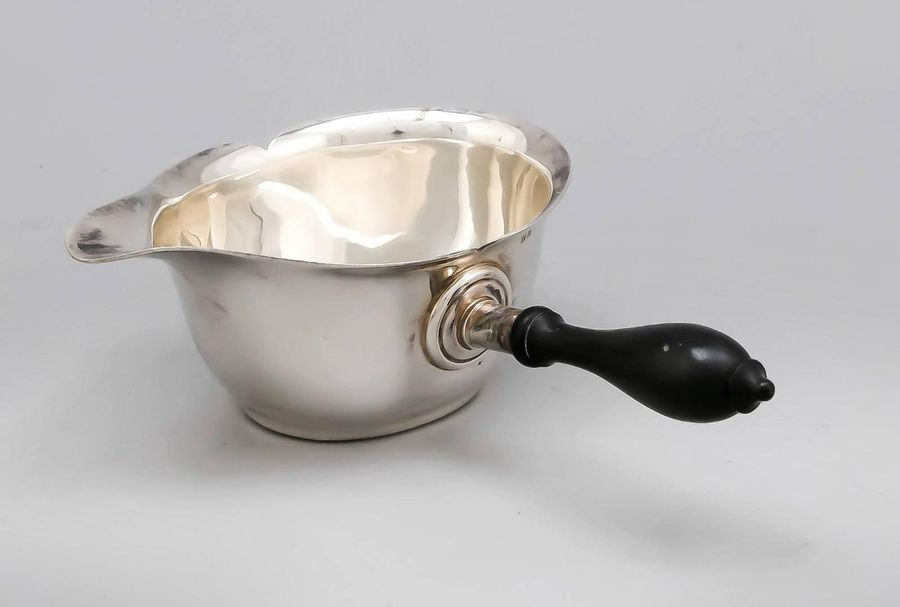 Sauce boat, 19th century, hallmarked, silver 12 (750/000), oval stand, smooth bo…