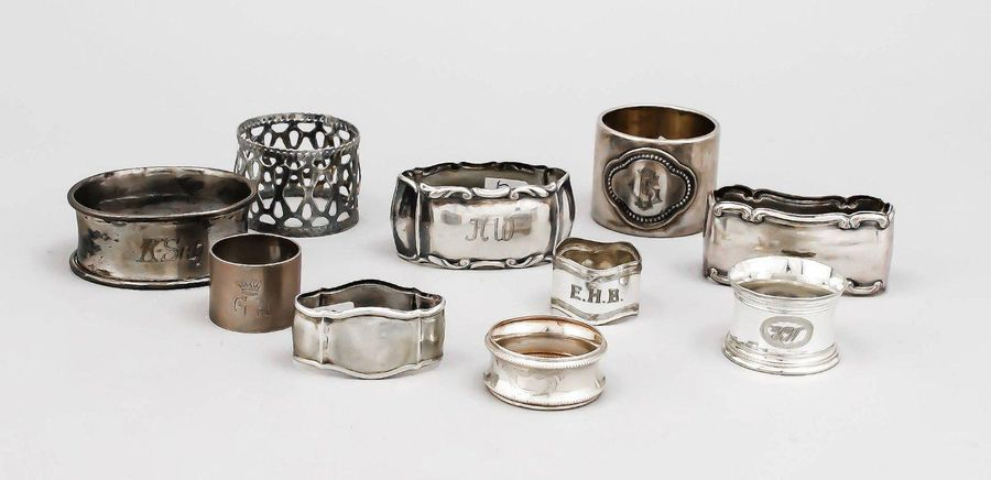 Ten napkin rings, 20th century, 5 silver, various finenesses, 5 plated, differen…