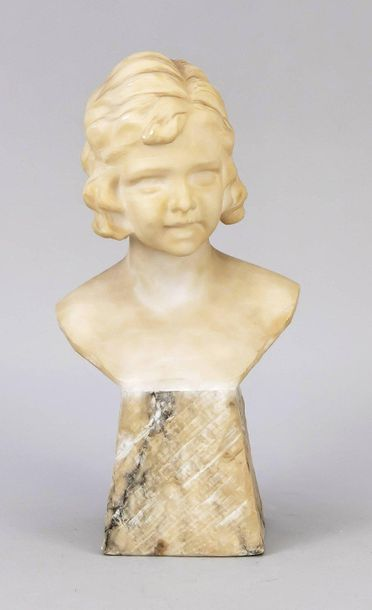 Berzo Pedrini, Italian sculptor around 1900, bust of a young girl, alabster, scr…