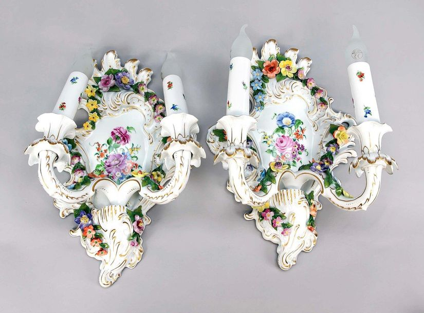Pair of wall lamps, Potschappe