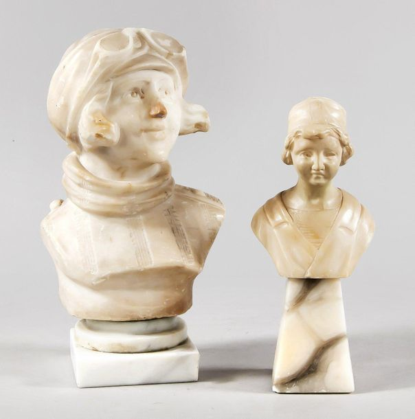Two Alabaster busts around 190