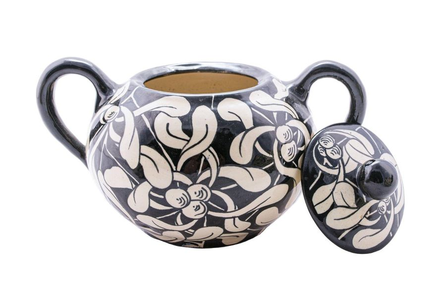 Ceramic tea service from Maioliche Ascolane30s 40swhite decoration with phytomor…