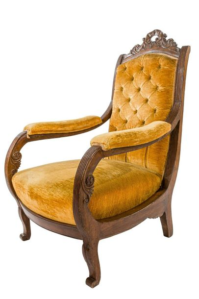 Armchair in walnutLigurian manufacture, 1830 1840backrest w carved with phytomor…
