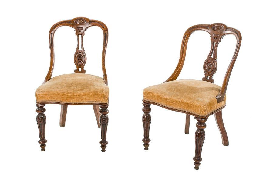 Pair of walnut chairsLigurian manufacture, mid 19th centuryshaped and carved bac…