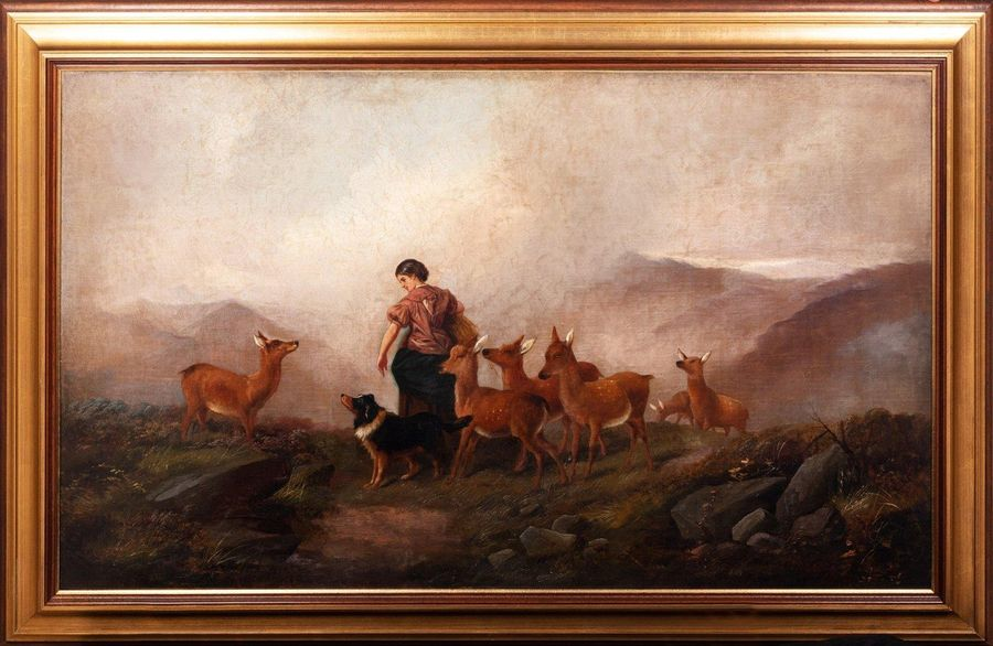 Landscape with shepherdess, dog and fawns mid 19th centuryoil painting on canvas…