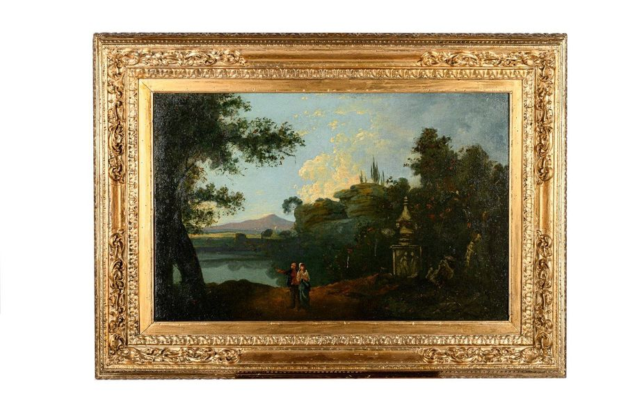 Landscape with ruins and figures late 18th early 19th centuryoil painting on can…