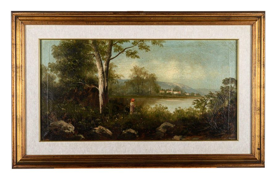 Pair of river landscapes early 20th centuryoil painting on canvasone signed F. F…