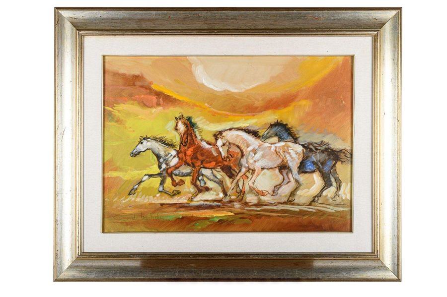 Giacomo De Michelis ( 1935 ) Horse race20th centuryoil painting on canvasin fram…