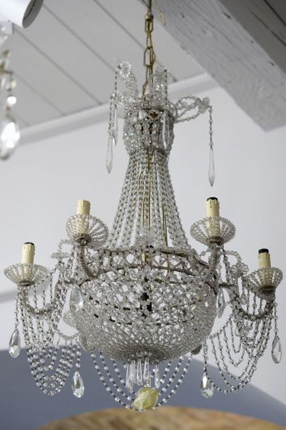 Chandelier Italian manufacture, 1930swith six lights, in glass and silver metal8…