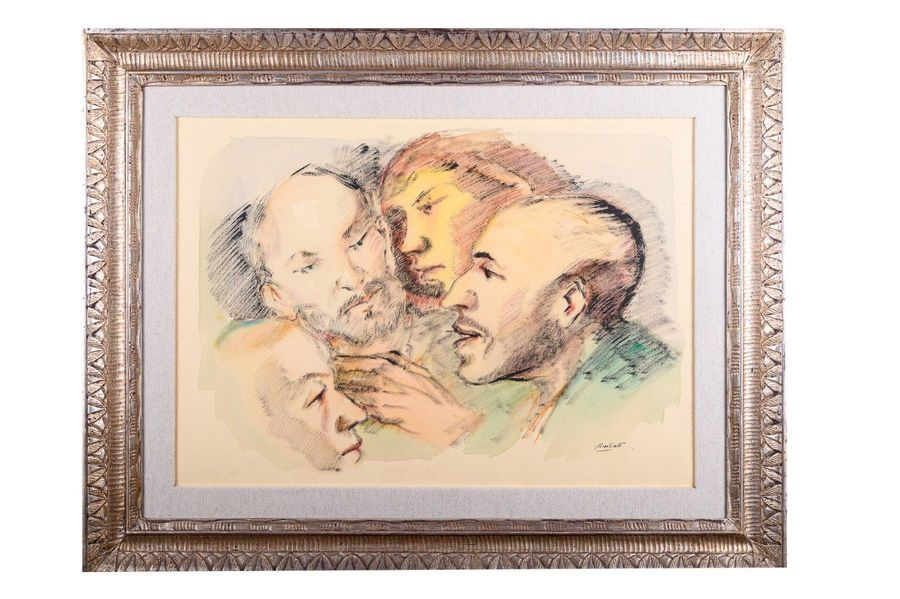 Domenico Purificato ( 19 15 1984) Four faceswatercolor and pastel on papersigned…
