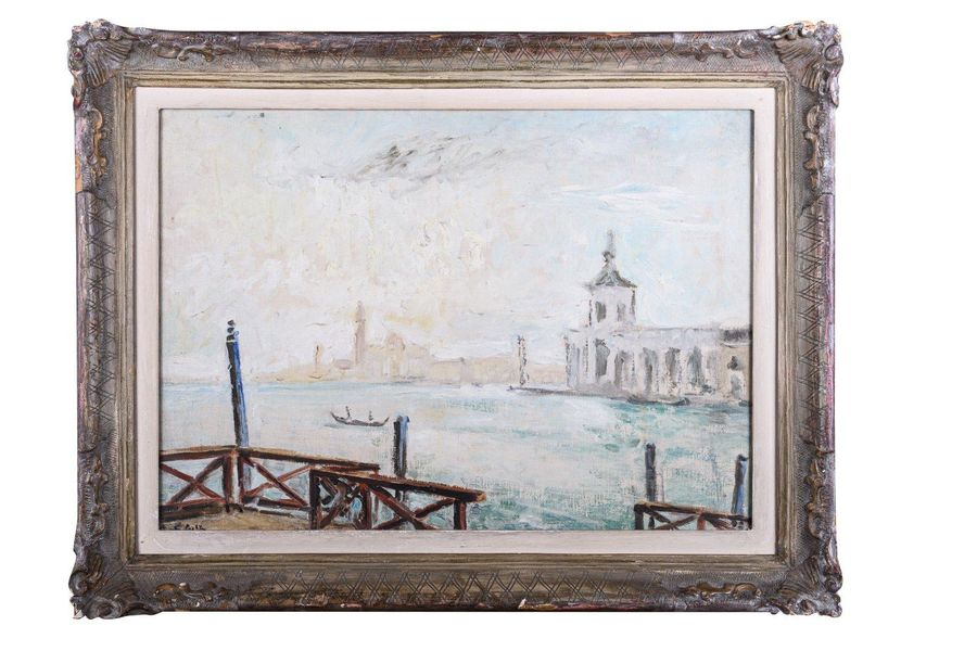 Glimpse of Venice20th centuryoil painting on canvas applied on cardboardsigned, …