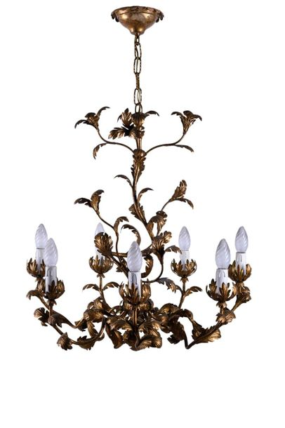 Golden metal chandelierFlorentine manufacture, 1950swith six lights, arms and st…