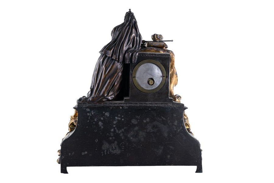Table clockFrance, mid 19th centurybronze, partially gilded, richly decorated ba…