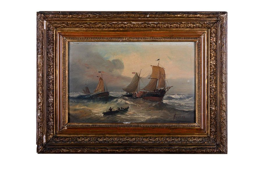 Stormy sea early 20th centuryoil painting on boardsigned, framed4 1 x 27 cm