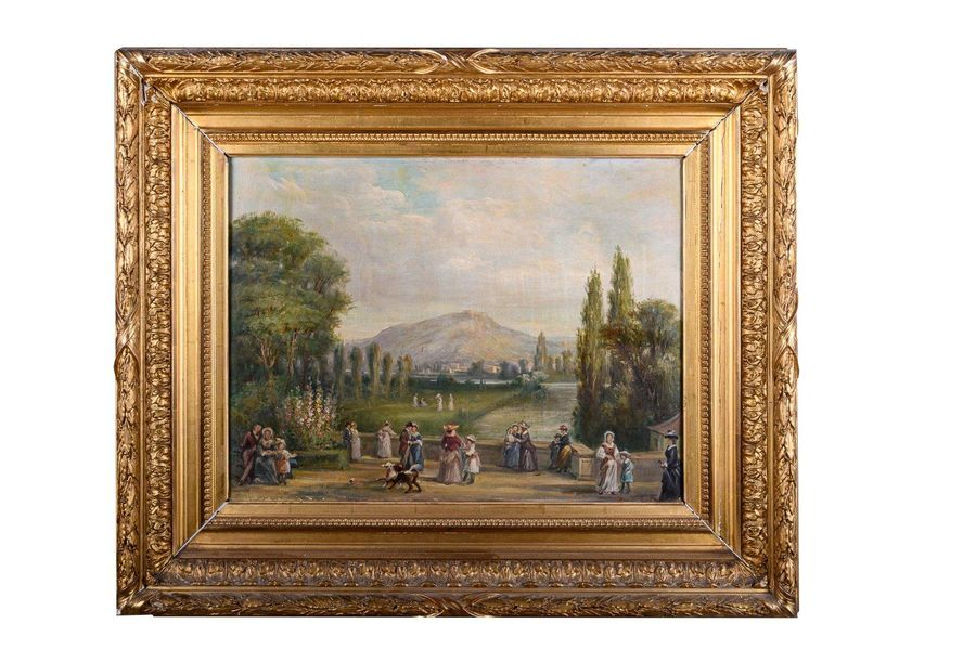 Gallant scene in the garden late 19th centuryoil painting on canvassigned, frame…