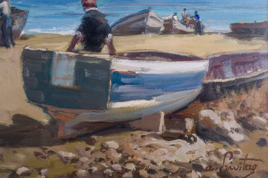 Antonio Privitera ( 1940 ) Glimpse of the coast with boats and figuressecond hal…