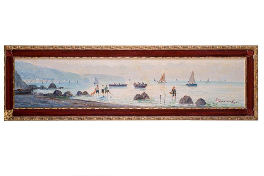 Glimpse of the coast with boats and fishermen20th centuryoil painting on boardsi…