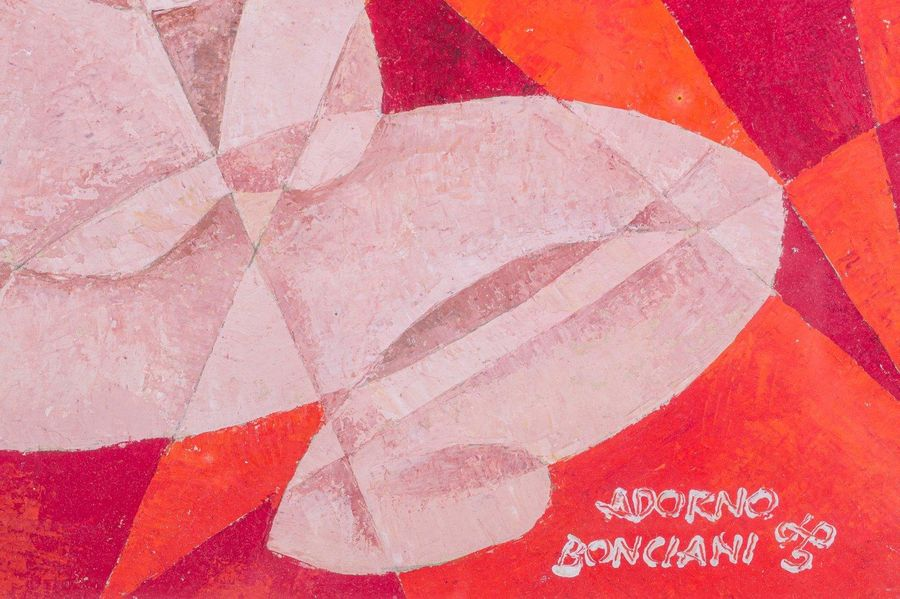 Adorno Bonciani ( 1920 ) Maternity on a red background20th centuryoil painting o…