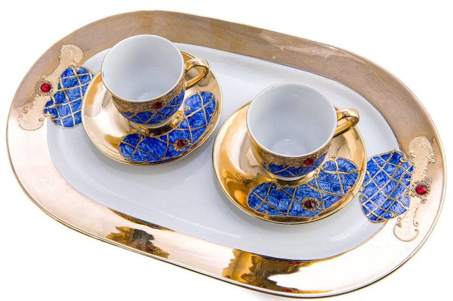 Coffee tête à tête service Limoges DAPT DecorazFrance, 20th centuryin white and …