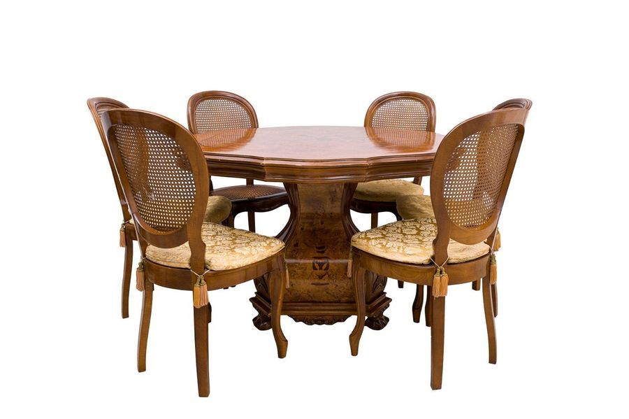 Table with six chairs en suiteItaly, mid 20th centuryin walnut, top in walnut ro…