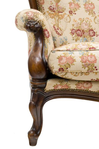 Pair of Louis Philippe mahogany wood sofasTuscan manufacture, 19th centuryshaped…