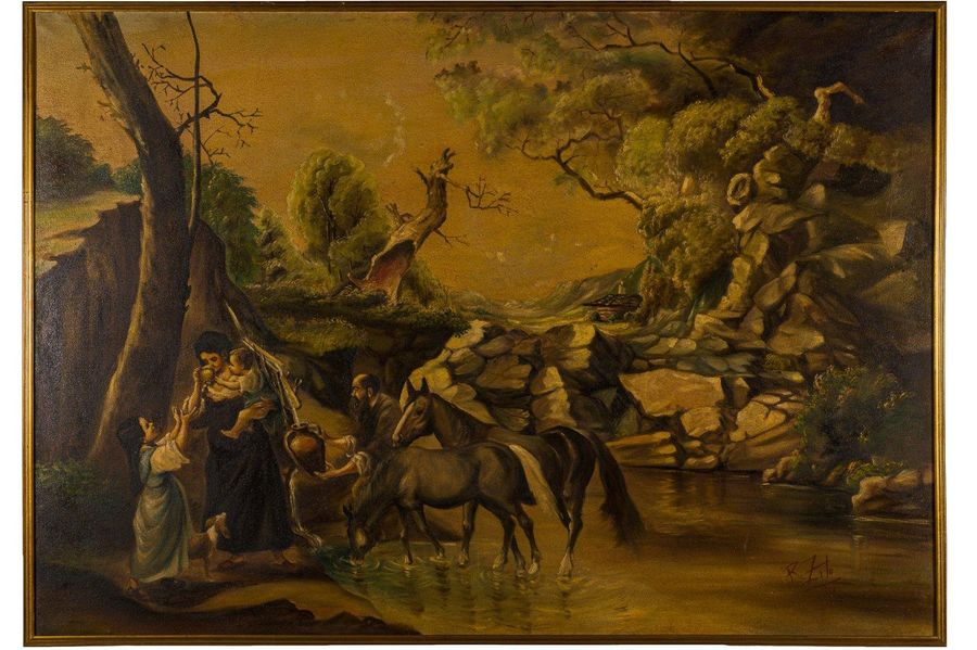Rodolfo Zito ( 1924 1995) Landscape with figures 1969oil painting on canvassigne…