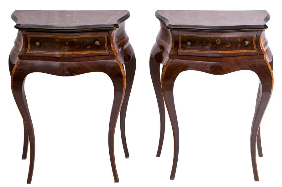 Pair of rosewood bedside tablesLombard manufacture, second half of the 20th cent…