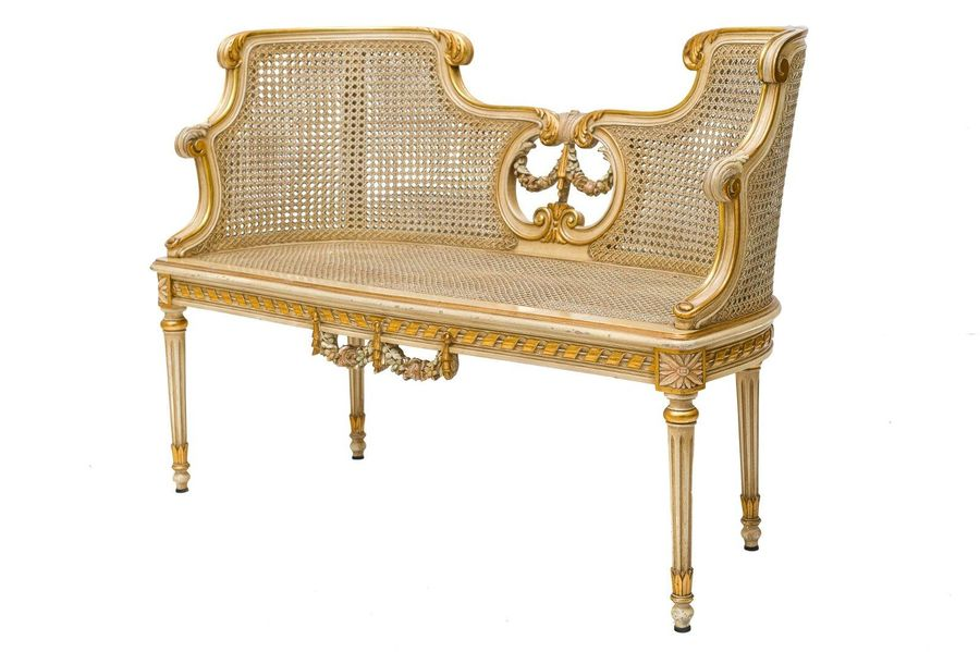 Lot of a bench, a bed and a chair Italian manufacture, second half of the 19th c…