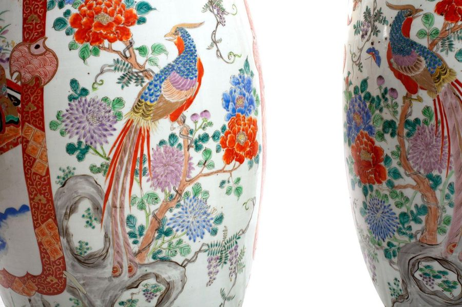 Pair of trumpet vases in porcelainJapan Kutani, late 19th centurywith polychrome…