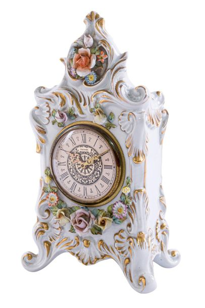 Table clock Italian manufacture, mid 20th centuryin white, polychrome and golden…