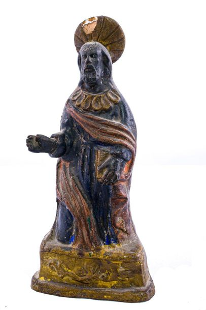 Christ late 19th centurypolychrome terracotta sculpture, some chipping27 x 13 x …