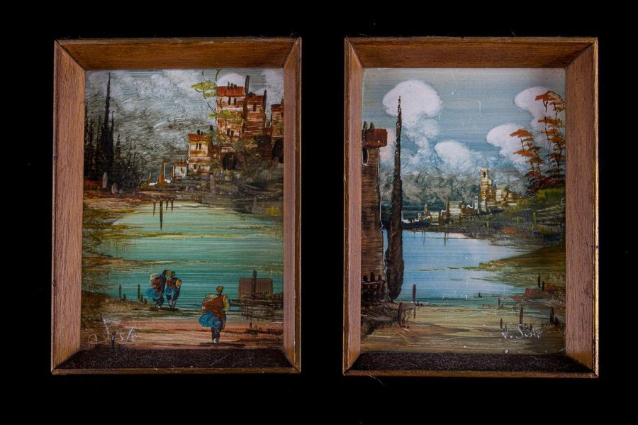 Pair of landscapes20th centuryoil on cardboardsigned, in frame 17 x 12 cm