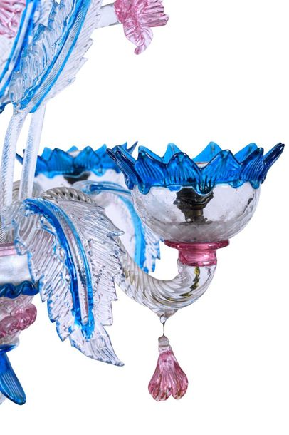 Murano chandeliersecond half of the 20th centuryin colorless and polychrome glas…