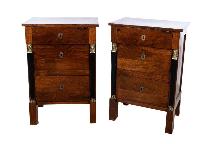 Pair of Empire style bedside tablesLigurian manufacture, mid 19th centuryin waln…