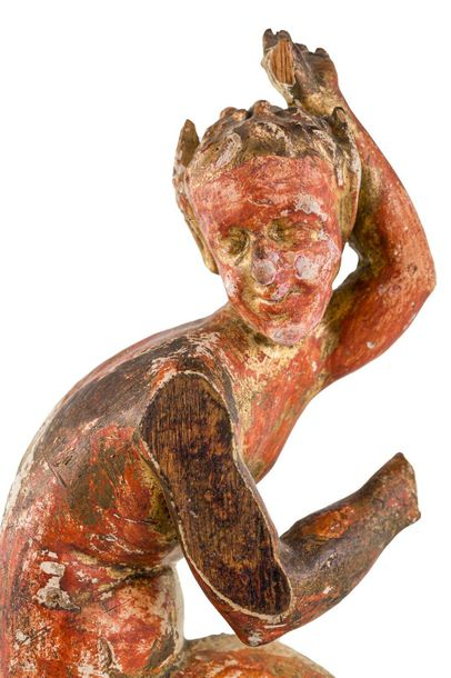 ImpXVIII centurycarved wood sculpture, red and golden lacquered, some missing pa…