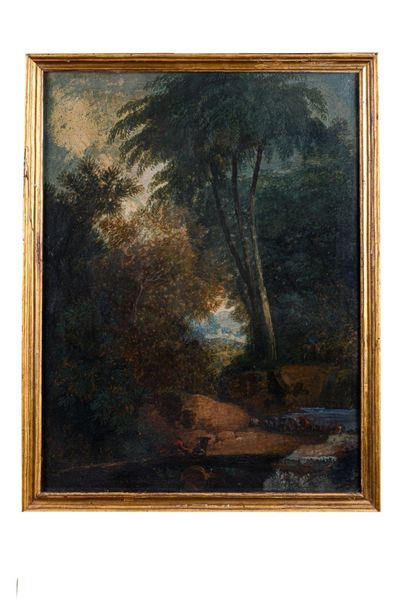 Landscape with figures19th centuryoil painting on cardboardin frame60 x 46 cm