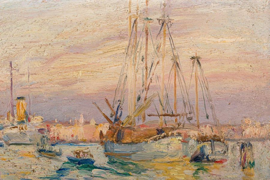 Pieretto Bianco ( 1875 1937) Venice 1927oil painting on woodsigned, framed27 x 3…