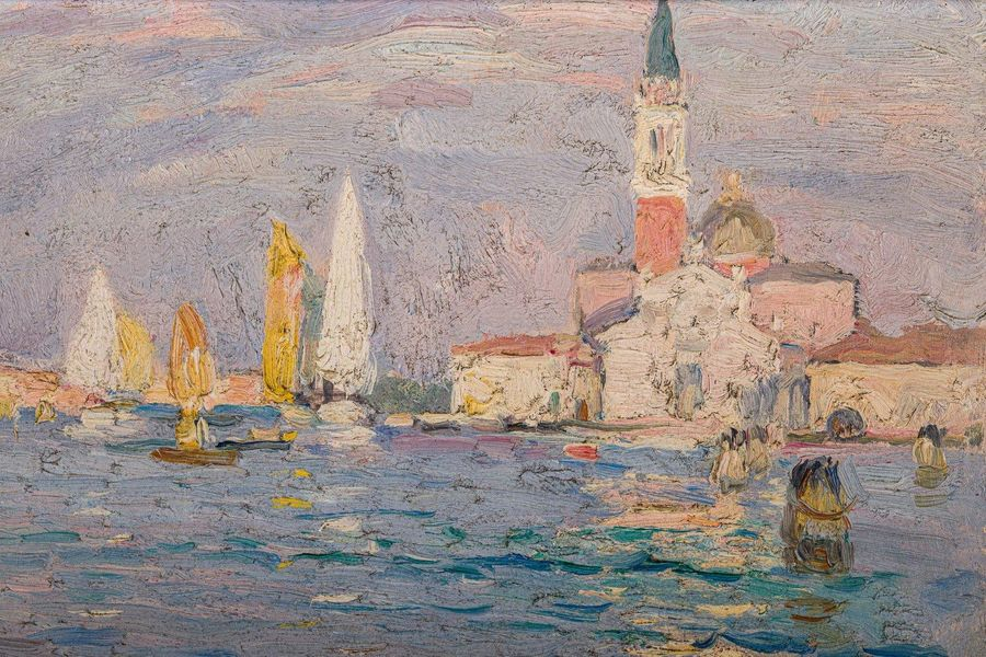 Pieretto Bianco ( 1875 1937) Veniceoil painting on woodsigned and dated, framed2…