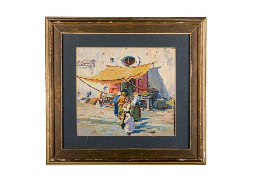 Market late 19th centuryoil painting on canvasin frame44 x 50 cm