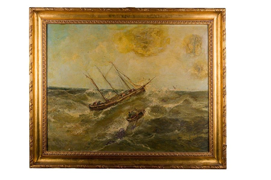 Stormy sea late 19th centuryoil painting on canvassigned, framed73 x 92 cm