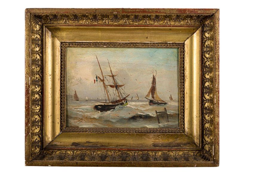 Rough sea late 19th centuryoil painting on woodsigned, framed 15,5 x 22 cm