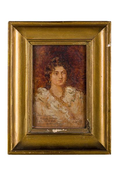 Agustin Salinas ( 1862 19 15) Portrait of a gentlewoman 190 1oil painting on woo…
