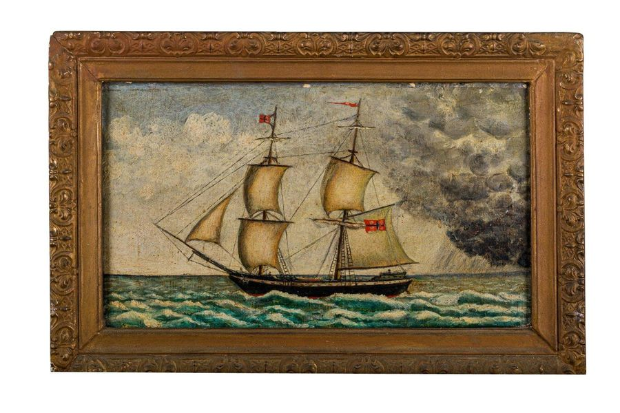 Ship late 19th centuryoil painting on canvasin frame 17.5 x 3 1 cm