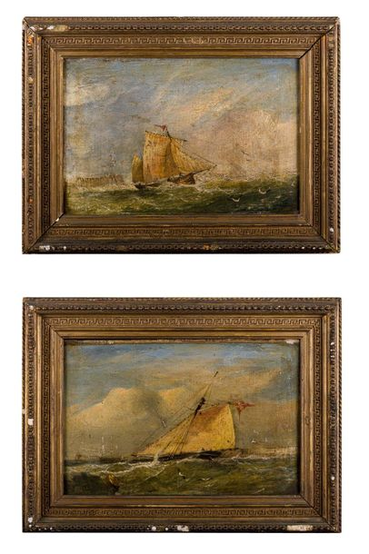 Pair of paintings of sailing ships late 19th centuryoil painting on canvasin the…