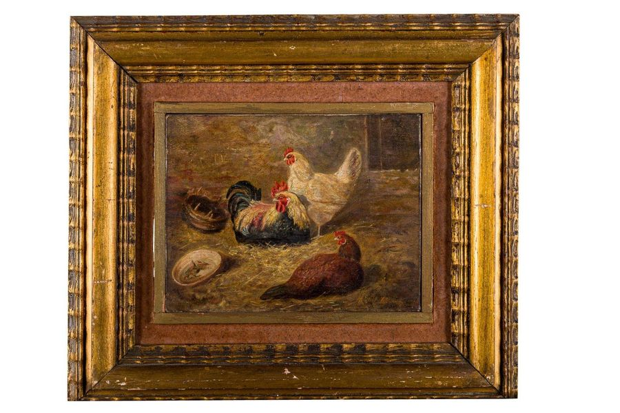 Henhouse early 20th centuryoil painting on canvassigned, framed 17.5 x 22.5 cm